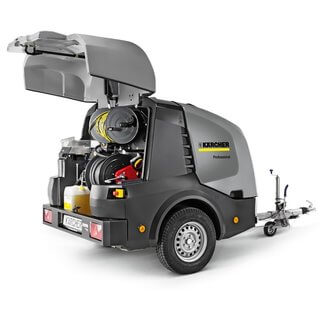 Karcher Hot & Cold Water Trailer Pressure Washer - Engine Driven
